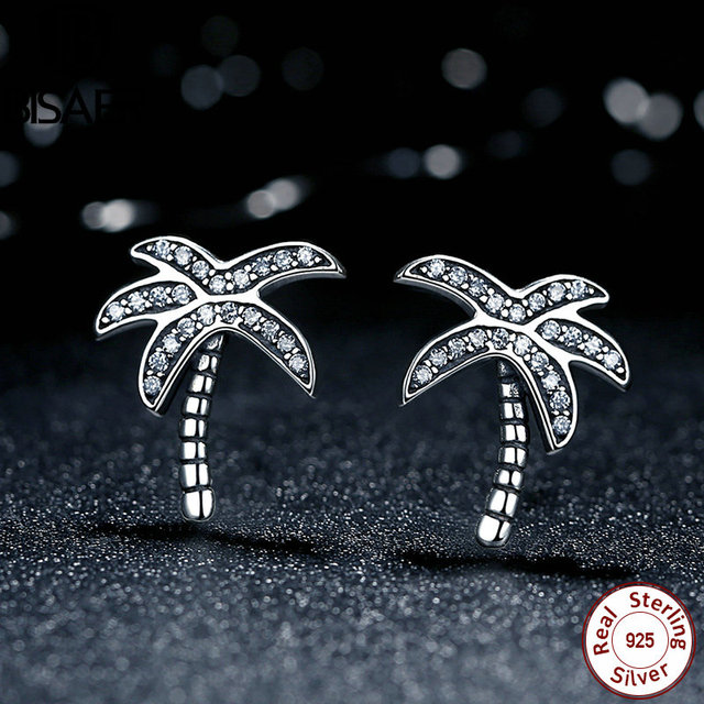 Bisaer Original 925 Sterling Silver Sparkling Clear Cz Palm Tree Stud Earrings For Women Jewelry Hjs433