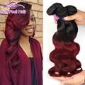 Burgundy Brazilian Hair Two Tone Brazilian Virgin Hair Body Wave 4 Bundles Red Ombre Brazilian Hair Weave Bundles 99J Human Hair