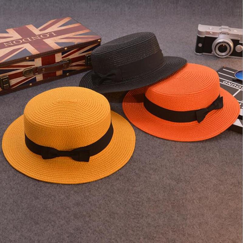 5306565180f55 Fashion Parent child sun hat Cute children sun hats bow hand made women  straw cap beach big brim hat casual glris summer cap -in Sun Hats from  Apparel ...