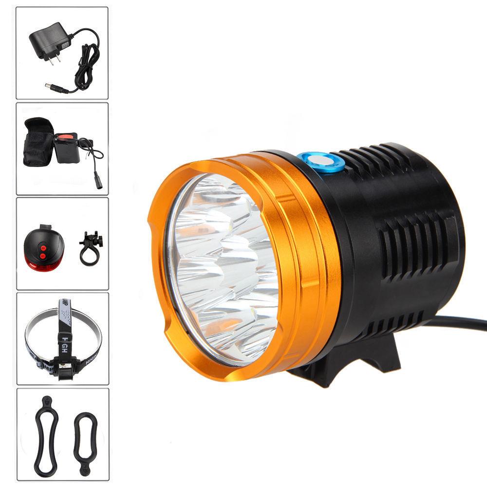 Waterproof 10000 Lm 9x XM-L R8 LED Front Bicycle Bike Light Lamp + 20000mAh Battery +Headband +Rear Light lantern xm l 5x t6 bicycle light headlight 7000 lumen led bike light lamp headlamp 8 4v charger waterproof battery box