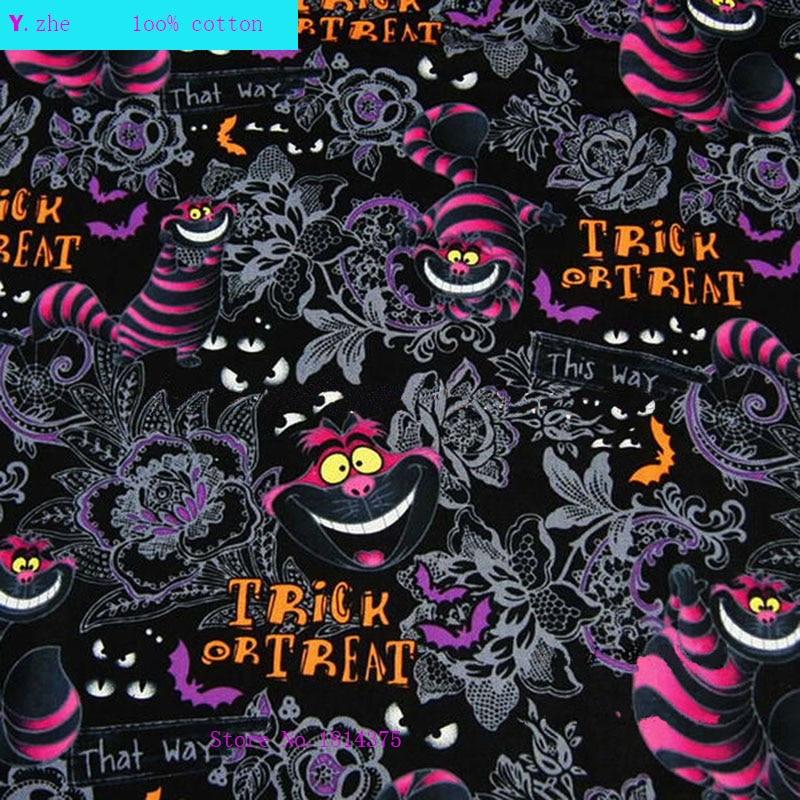 120cm largura tecido de gato 100% algodão tecido telas retalhos gato alice no país das maravilhas impresso tecido costura material roupas diy
