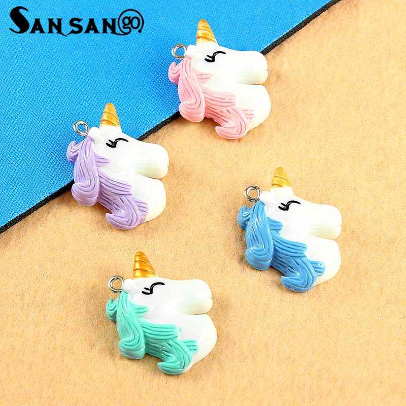 10pcs New Colorful Cartoon Cute Smile Unicorn Head Charms For DIY Making Rainbow Kawaii Necklace Pendant Keychain Jewelry Gift