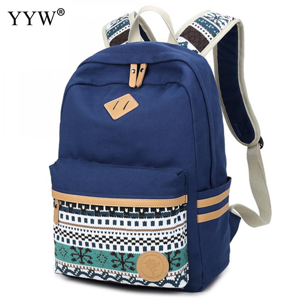 Casual Unisex Backpack Geometric Pattern Blue Backpacks For Adolescent Girls Boys Zipper Black School Bag Men's Laptop Backpack