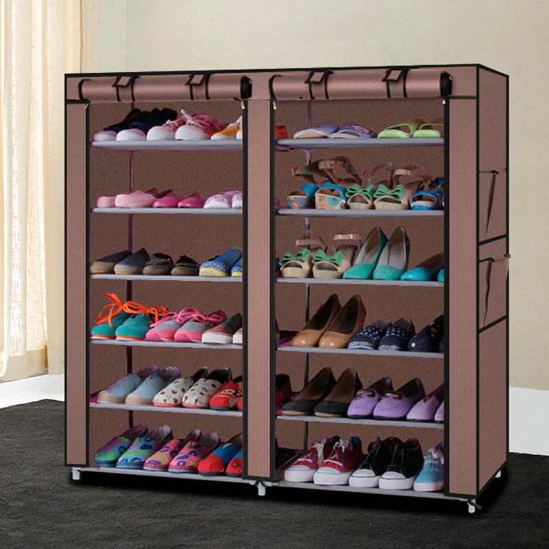 Shoe cabinet Shoes rack storage large capacity home furniture DIY simple 12 gird reinforcing steel double simple shoe storage rack assembly cheap thicker dust specials