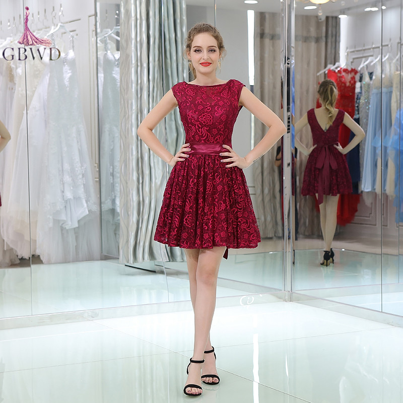 Red Lace Short Prom Dresses 2018
