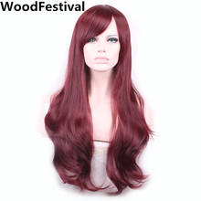 цены на long burgundy wig 65cm brown wavy wig black heat resistant synthetic wigs for women hair wigs WoodFestival   в интернет-магазинах