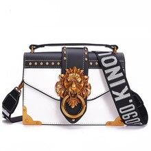 Fashion Metal Lion Head Mini Small Square Pack Shoulder Bag Crossbody Package Clutch Women Designer Wallet Handbags Bolsos Mujer