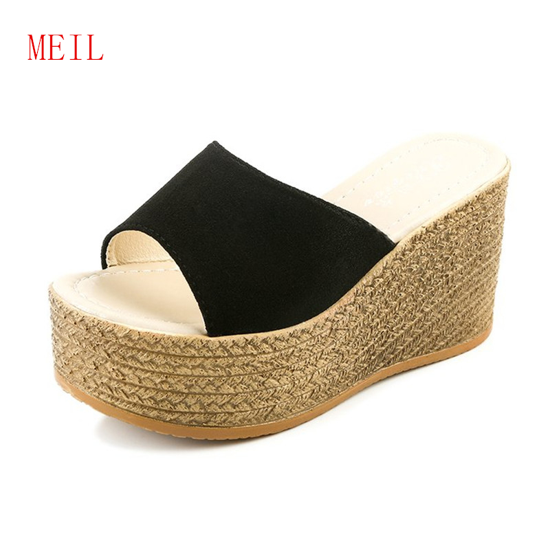 Slope with Thick Sole Female Summer Slippers 2019 Casual Elegant Fish Mouth High Heels PU Wedge Sandals Flip Flop