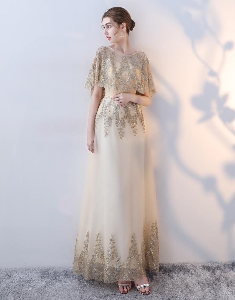 New 2020   Evening     Dress   Elegant Banquet Champagne Half Sleeveless Floor-length Long Party   Dresses   Formal Gown Robe De Soiree