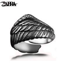 Zabra Винтаж 925 Серебряный Для мужчин кольцо Регулируемый Eagle Wing Перо Ретро черный Панк Байкер человек Кольца женский стерлингов Серебряные ювелирные изделия