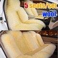 Cubierta de asiento de coche cojín largo de piel de oveja 5 asientos de lujo cubre para 1 Unidades fashion and warm lana real cubierta de asiento de coche cojín