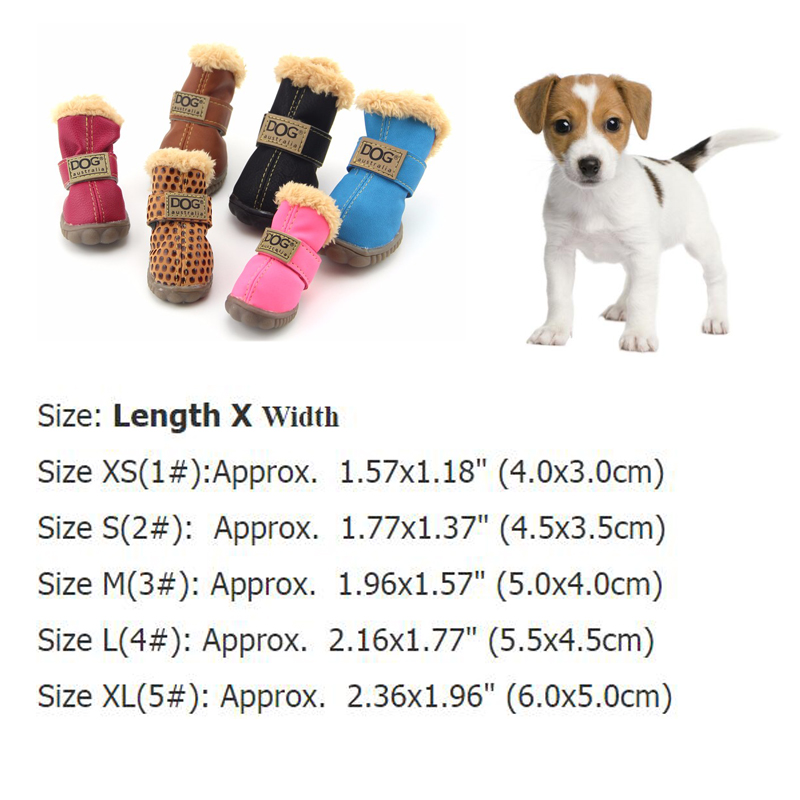 1c37a1b43c ... Winter Pet Dog Shoes Waterproof 4Pcs Set Small Big Dog s Boots Anti  Slip Sneaker For ...