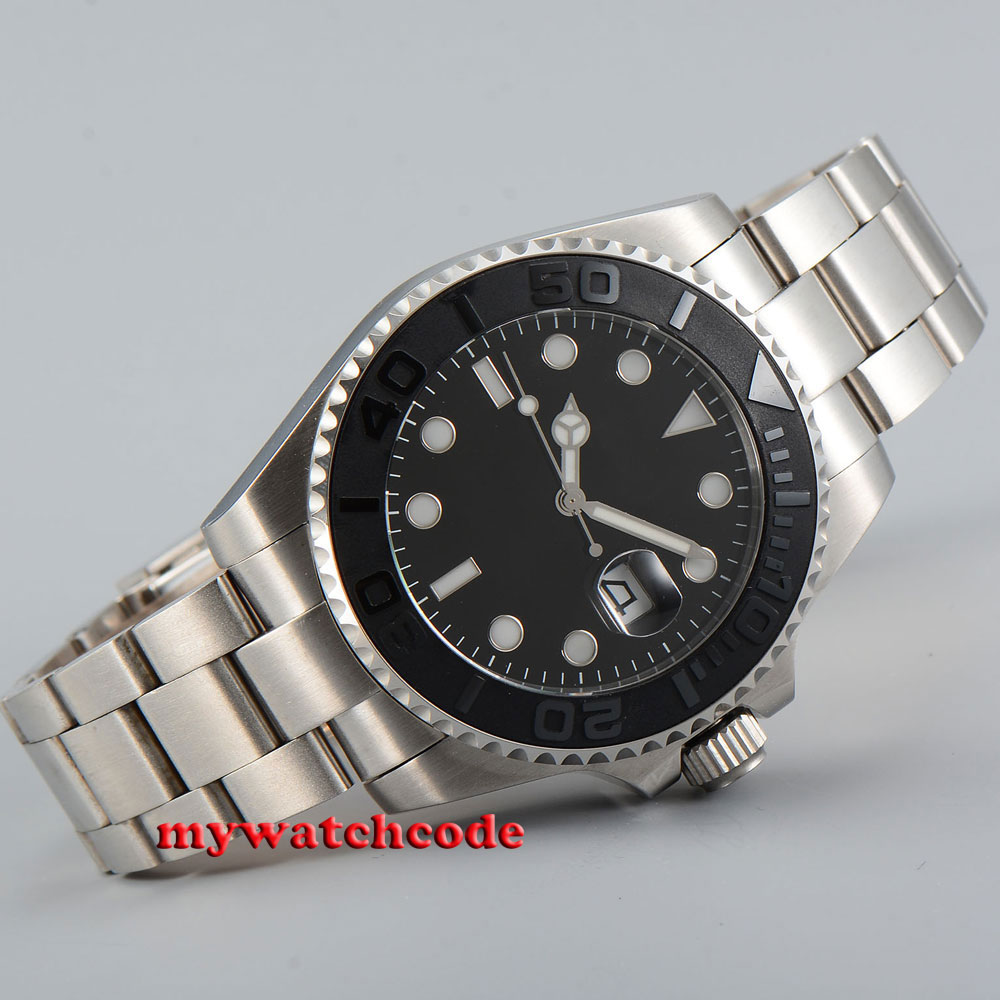 43mm bliger black sterile dial black ceramic bezel date sapphire glass automatic mens watch P47943mm bliger black sterile dial black ceramic bezel date sapphire glass automatic mens watch P479