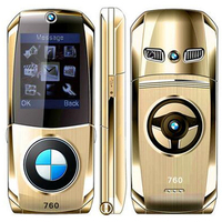 760 Unlocked Luxury Senior Student Mobile Phone Flip Full Metal Car Model Key Design Shape GPRS