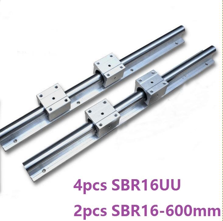 2pcs SBR16 16mm -L 600mm support rail linear guide + 4pcs SBR16UU linear blocks beairng for CNC router parts linear rail best price 2pcs sbr16 rail l600mm 16mm linear guide cnc router part linear rail 4pcs sbr16uu blocks