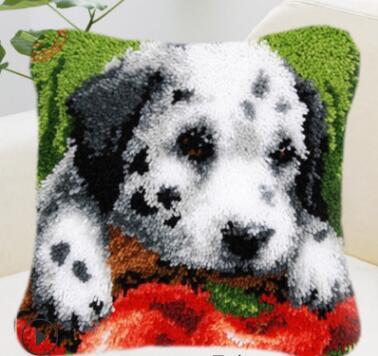 3D Latch Hook Cushion Kits Three Cat with Moon DIY Needlework Crocheting Kit Rug Yarn Handmade Unfinished Embroidery Pillowcase