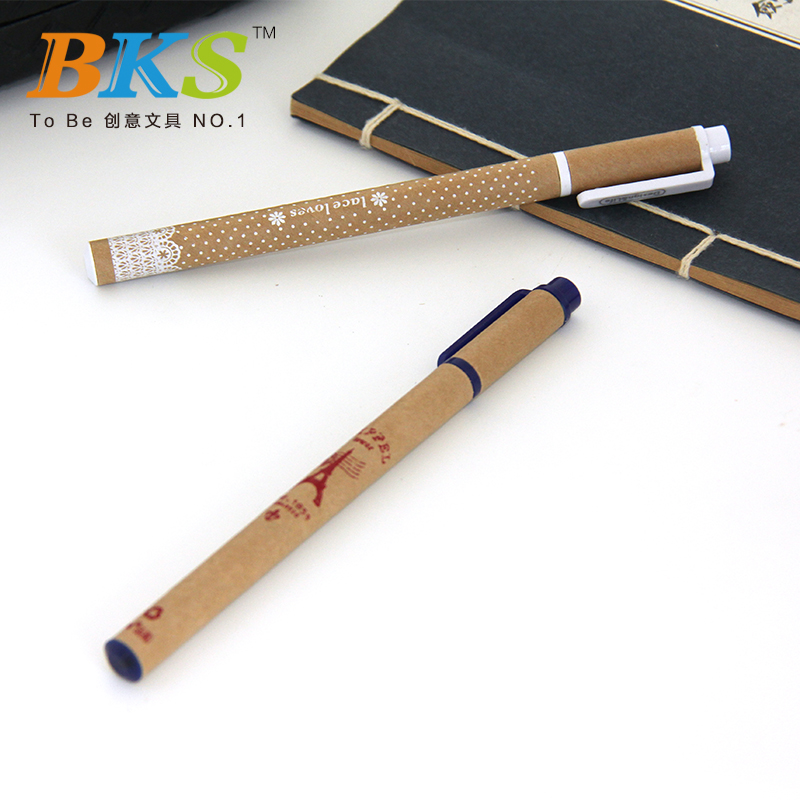 Recycled paper school and office logo neutral pen promotional supplies fashion writing pen advertising pen