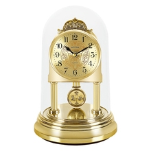RHYTHM 8 inch Originality Desk Clock Silent Quartz Movement Study Table Clock Swing Pendulum and Rotating