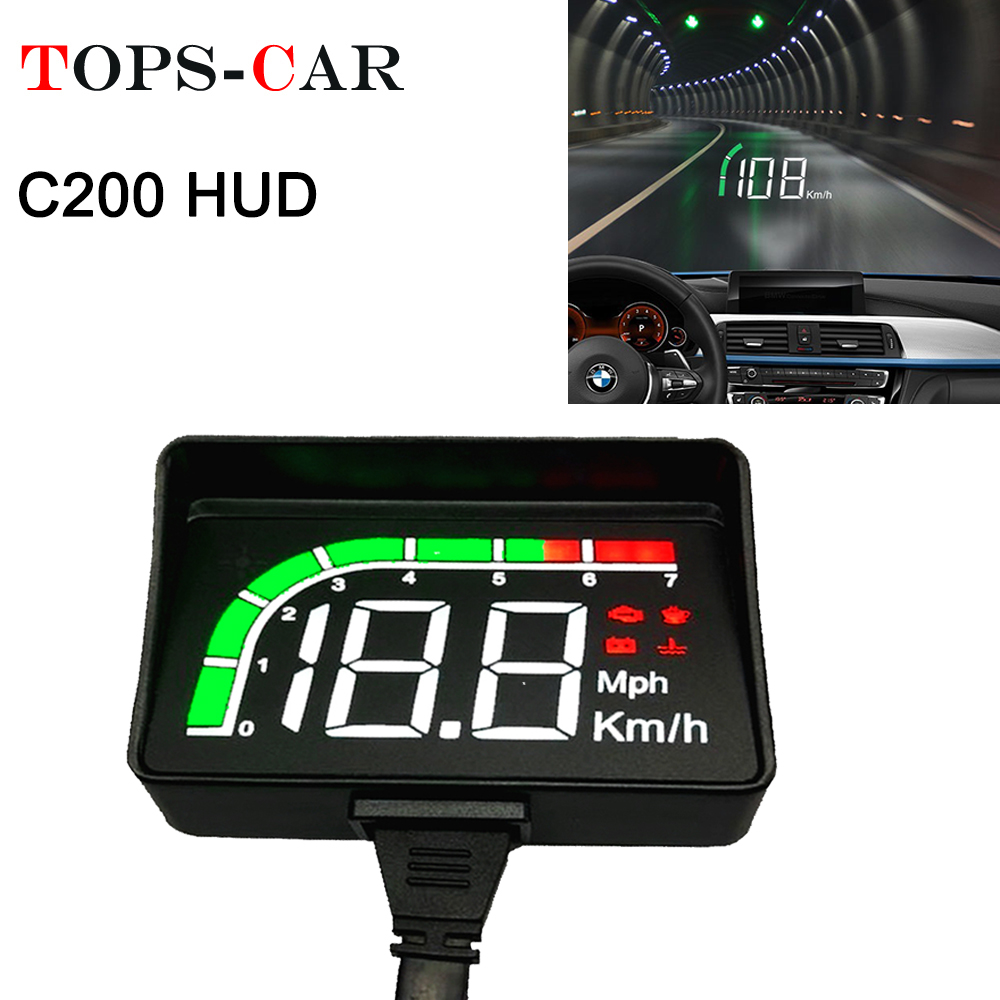 GEYIREN C200 OBD HUD Car Head Up Display With Lens Hood OBD2 A100S Engine RPM Speed Meter Voltage Water Temperature Alarm