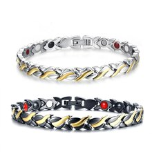 Unisex Fashion 4 IN 1 Mens Womens Health Energy Bracelet Bangle for Arthritis Anti Snoring Bike Chain, Stainless Steel 2019(China)