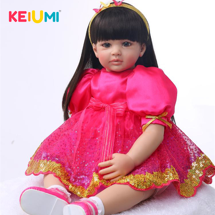 цена 56 cm Soft Silicone Reborn Baby Doll Toys Princess Child Dolls With Long Hair Girls Toys Collection Dolls High Quality Limited