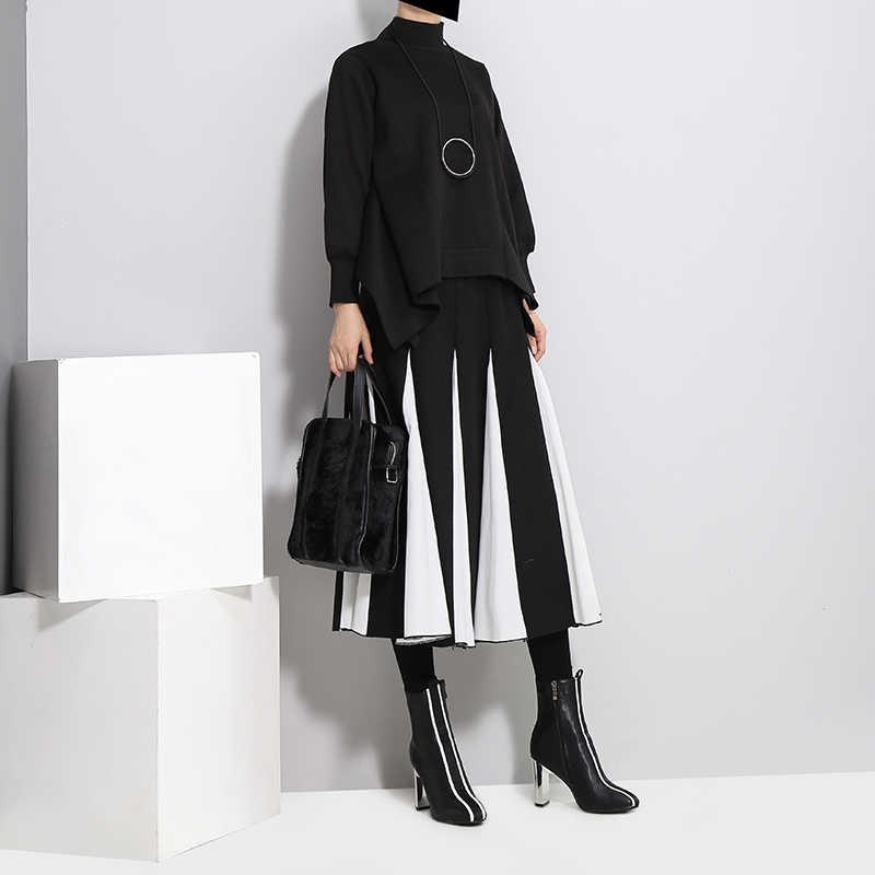 2019, корейский стиль, женская осенняя зимняя плиссированная юбка, черная, серая, эластичная талия, ампир, женская элегантная трапециевидная Повседневная Длинная юбка, 3028