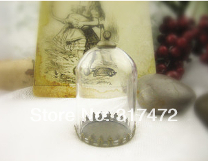 20set/lot 30*20mm Glass vial pendant glass dome with blank base with top cap DIY charm glass pendant