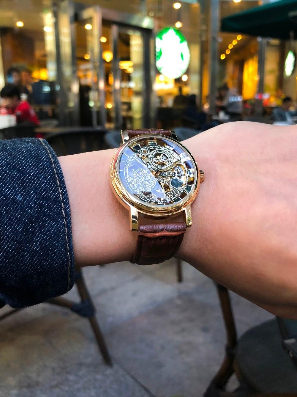 HTB1Mi4ej9tYBeNjSspaq6yOOFXaF Winner Transparent Golden Case Luxury Casual Design Brown Leather Strap Mens Watches Top Brand Luxury Mechanical Skeleton Watch