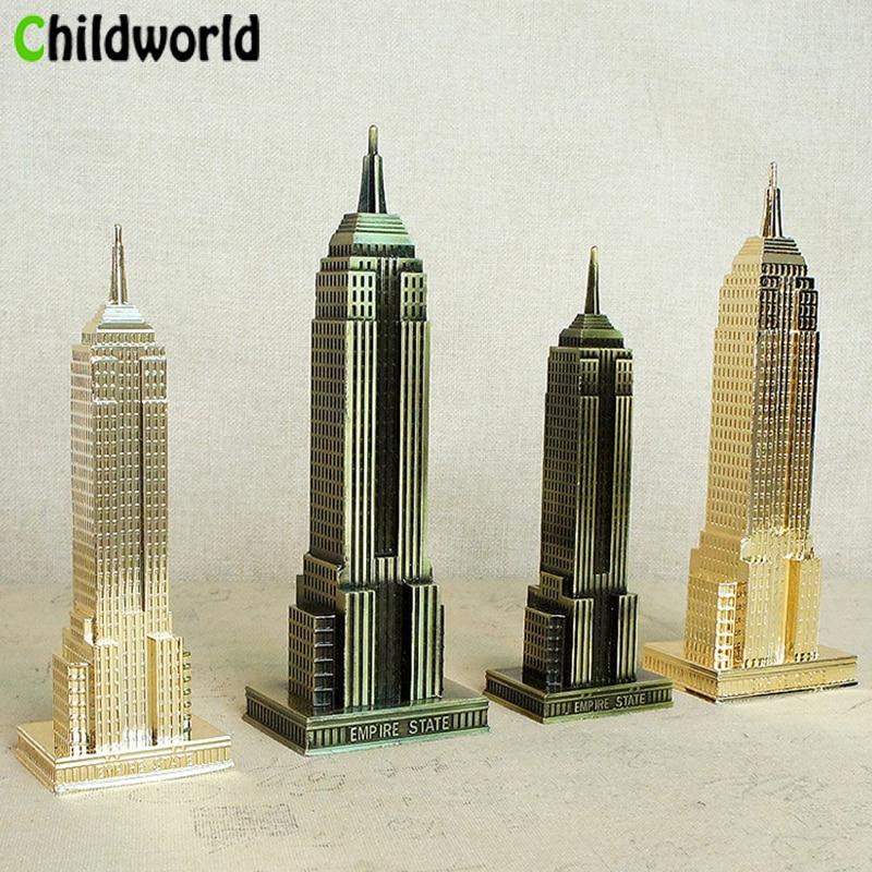 18cm / 22cm Modern Home decor New York Empire State Building Metal Architectural Model Statue Home Decoration Accessories