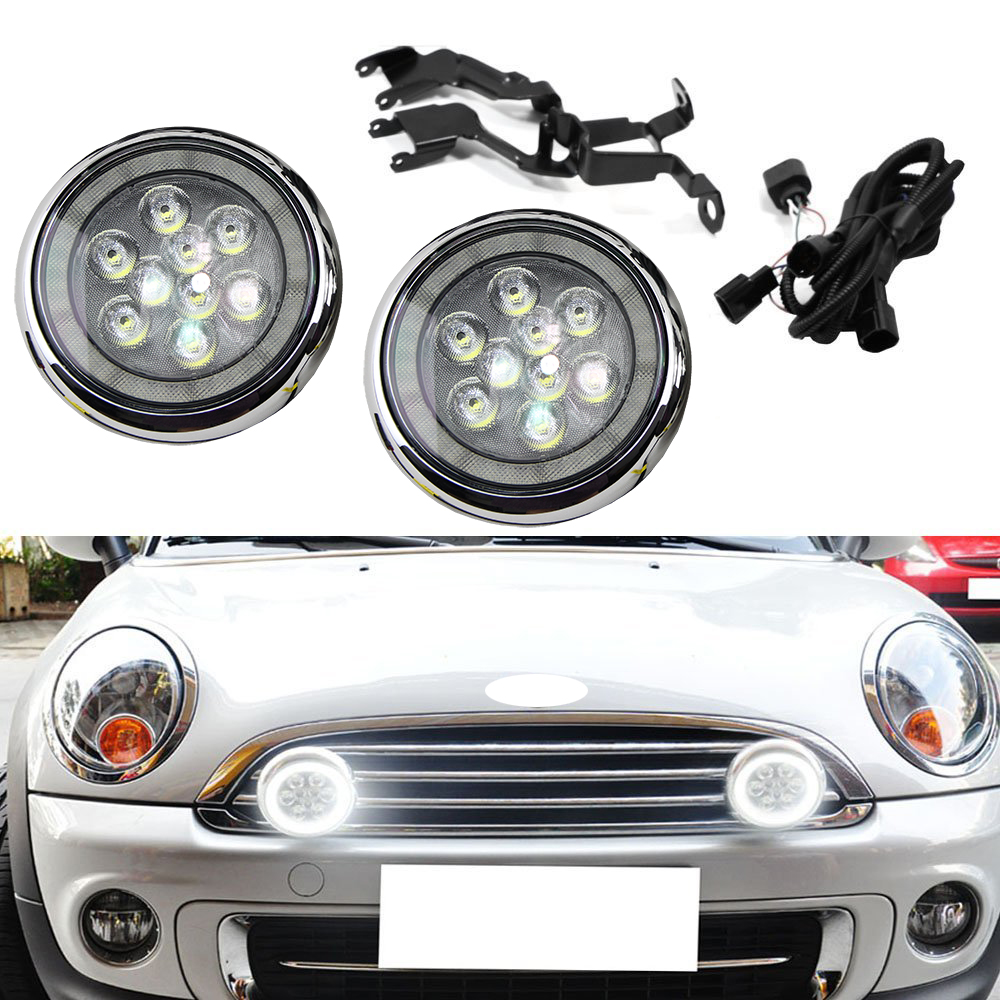 Chrome LED Halo Rally DRL Daytime Driving Light For MINI Cooper R55 Clubman R56 F56 R57 Convertible R58 Coupe R60 Countryman R61 chrome front bumper hood moulding trim frame strip for mini cooper john s clubman jcw r55 r56 r57 oem 51132751040 w146