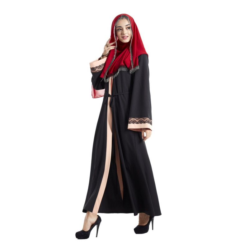 Kaftan Abaya Islamic Muslim Cocktail Women Long Sleeve Robe Patchwork Lace Embroidery Dress Musulmane Abayas Dresses