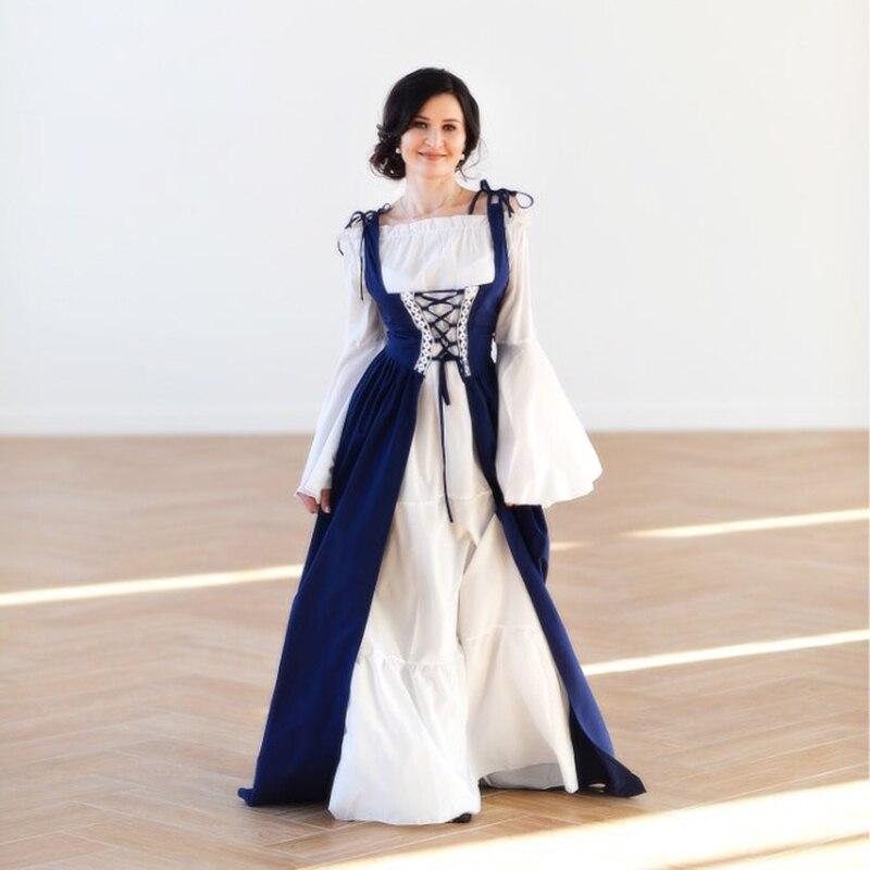 Rosétique robe pour femme Robes Verano 2019 Bandage Corset Médiévale Renaissance Vintage Robes Col Carré Party Club Élégant - 6