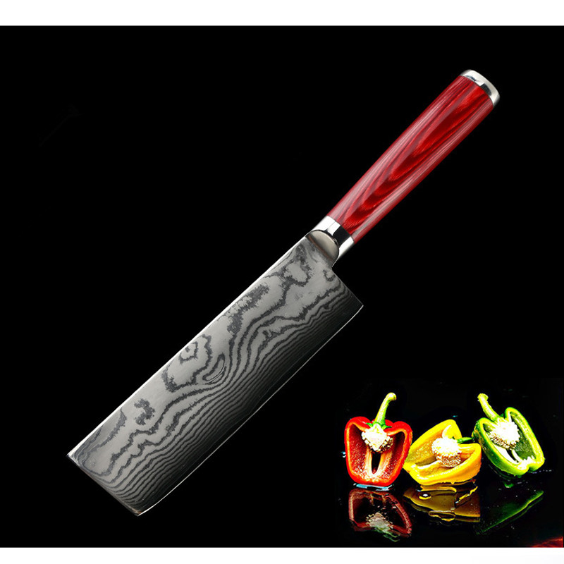 6 5 Inch Professional Japanese Kitchen Knives Imitation Damascus Pattern Chef Knife Stainless Steel Fish Meat