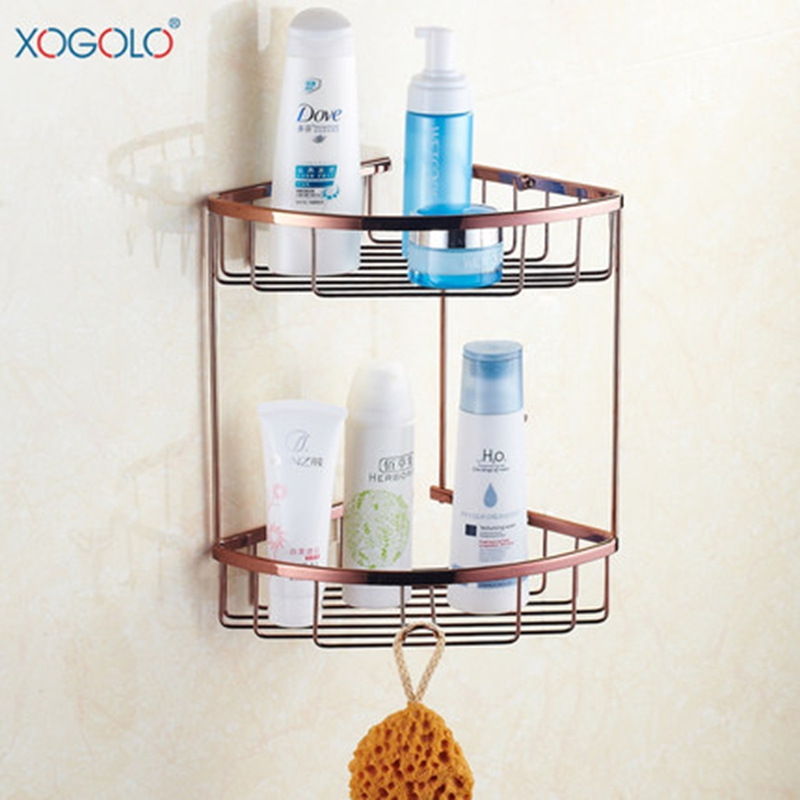 Xogolo Copper Bathroom Shelves Rose Gold Double Layer Triangle Show Basket Fashion Bathroom Corner Shelf free shiping copper gold paint double layer glass shelf shelving bathroom shelf bathroom shelf gb012d 1