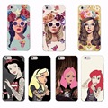 Para iphone 5c 4 se 5S 5 6 6 s 6 mais 7 mais 7 samsung punk snow white óculos fashion girl floral telefone silicone macio claro caso