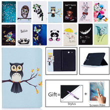 Tablet Case For Samsung Galaxy Tab E T560 SM-T560 T561 9.6 inch Smart Cover Fashion Panda Owl Flip Stand PU Leather Skin Funda