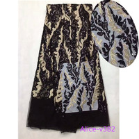 Factory Direct Offer Beautiful High Quality Latest African Tulle Lace With Sequins Fabric For Evening Dresses