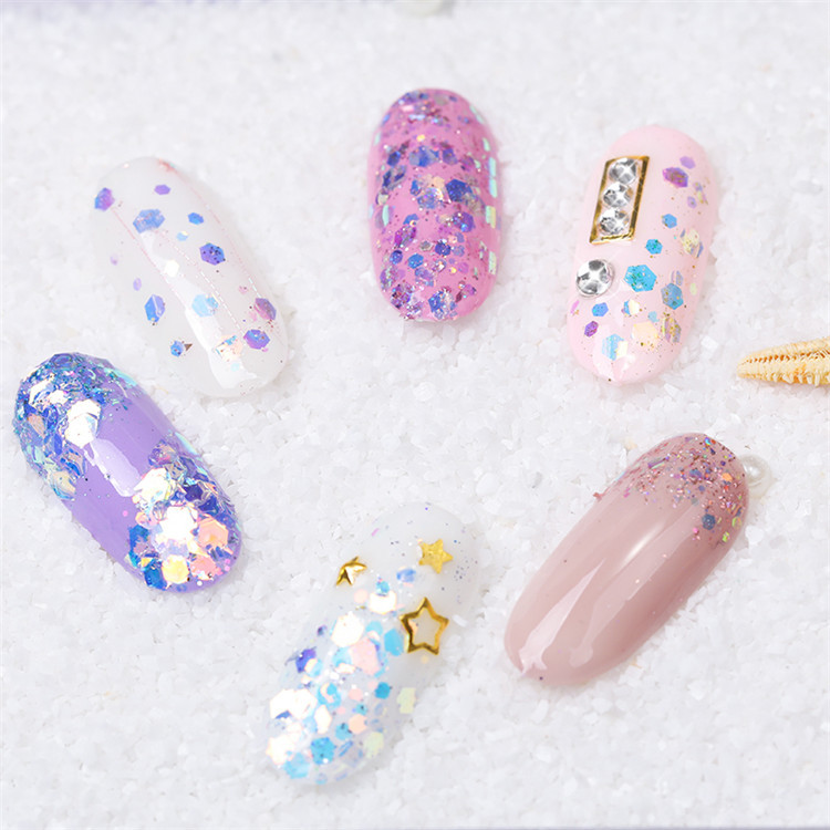 1Box Nail Art Glitter 3D Mixed Shaped Sequins UV Gel Polish Sparkling Powder Dust Manicure Decoration DIY Glitter Charm Flakes in Nail Glitter from Beauty Health