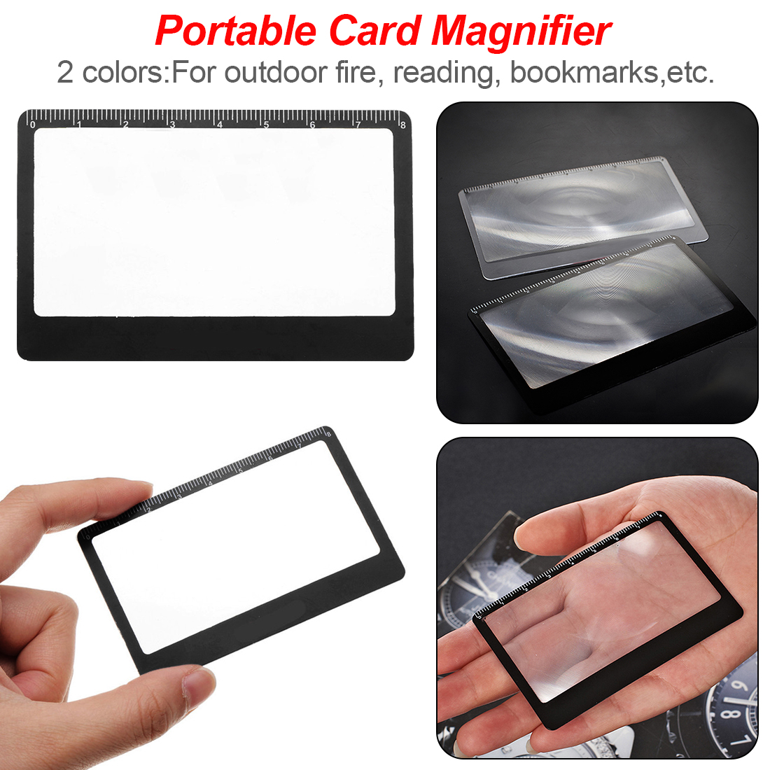 3 X Book Page Magnification 8.5X5.5cm Convenient Flat PVC Magnifier Sheet Magnifying Reading Glass Lens