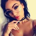 Moda Olho de Gato Lente Clara Óculos de Armação Mulheres Óculos De Ouro Quadro Homens Óculos Frame Ótico Óculos de Leitura Fêmea