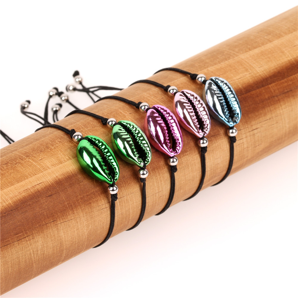 Hot Cowrie Colorful Shell Jewelry Bracelets for Women Delicate Rainbow Easy Match Handmade Bracelet Pulsera