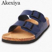 Akexiya Nouveau 2017 Hommes Sandales Pantoufles En Cuir Véritable de Vache Sandales en Plein Air Occasionnels Hommes En Cuir Sandales pour Homme
