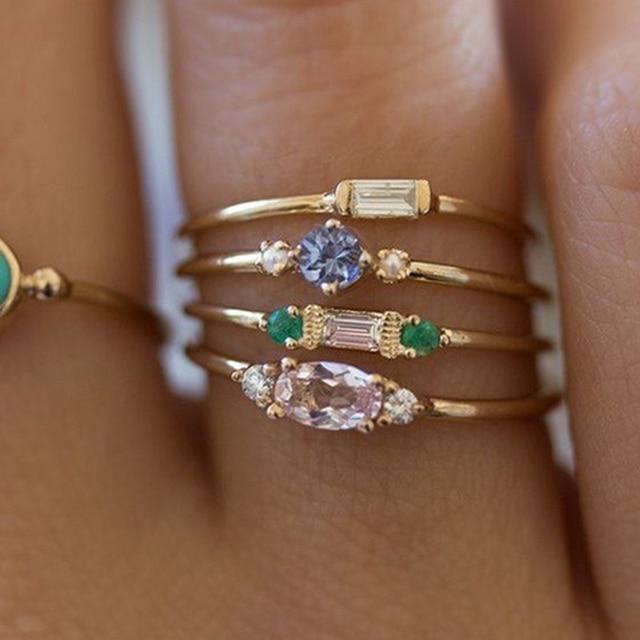 IPARAM 4 Pcs/set Crystal Zircon Gold Ring Set 2019 Vintage Bohemian Women Engagement Party Ring Set Jewelry