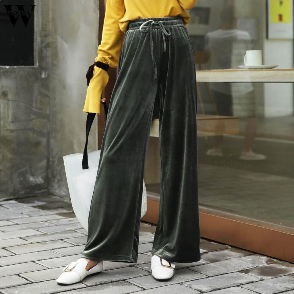 Womail Women   Pants   Korean   Wide     Leg     Pants   Women Casual Loose High Waist Solid Trousers Femme fashion long   pant   J710