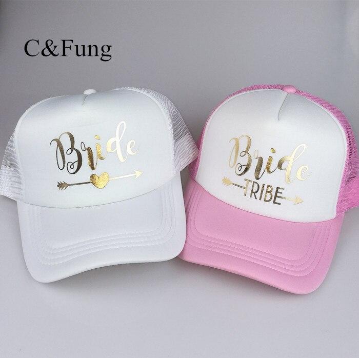 C&fung Designer Bridesmaid Trucker Hats Maid Of Honor Bachelorette Party Hat Caps Neon Pink Texts Mesh Bride Cap Women's Baseball Caps