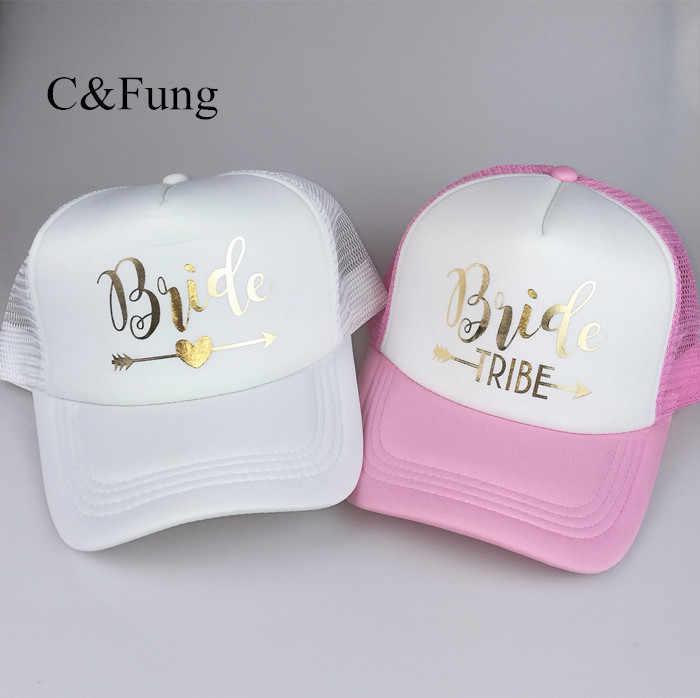 Womens Bride Tribe Black Baseball Adjustable Hat Gold Letters