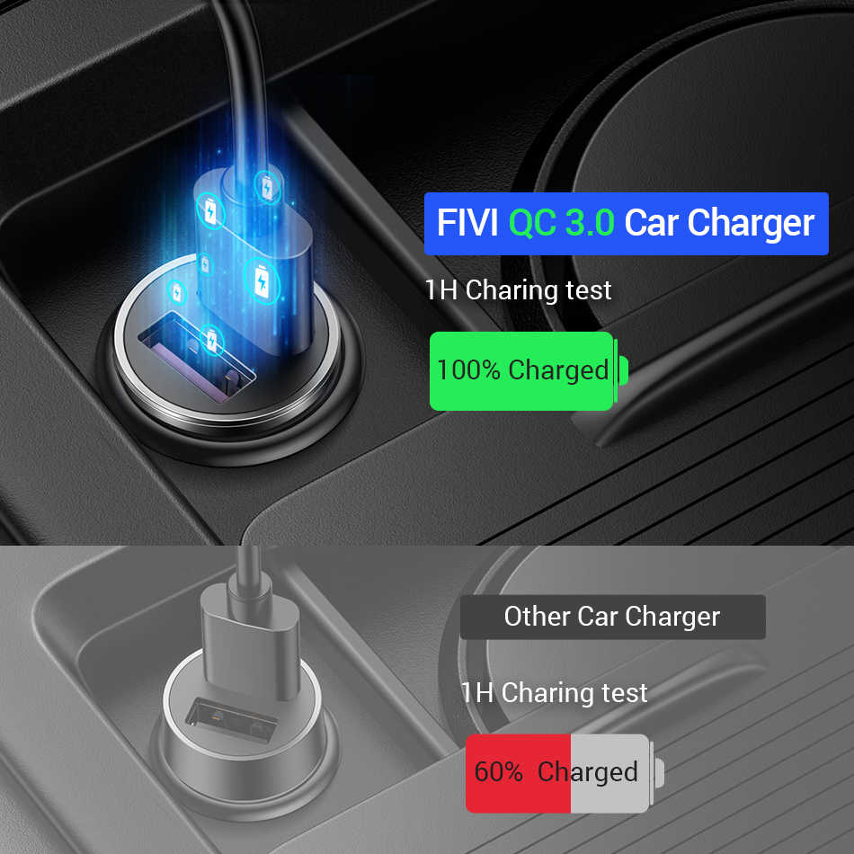 FIVI شاحن سيارة المزدوج QC 3.0 USB تهمة سريع جميع المعادن لسامسونج S8 S9 S10 Xiaomi هواوي مصغرة الهاتف المحمول 36W 6A محول