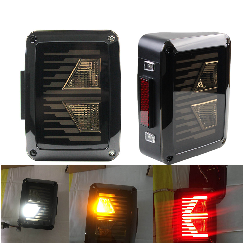 For Jeep Wrangler LED Tail Lights, For Jeep JK Brake Lights, For Jeep Wrangler Rear Reverse Lihgts DRL Turning signal Back UP ...