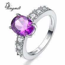 Lingmei nova chegada clássico oval corte roxo & champagne cz prata colorring tamanho 6-9 10 belas jóias femininas