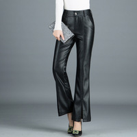 Spring Autumn Woman Plus Size High Waist PU Faux Leather Flare Pants Elegant Office Lady Slim Fit Split Casual Pants Trousers